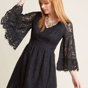 NEW! Modcloth Black Lace Bell Sleeved Dress RARE
